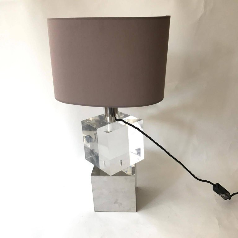 Vintage Unusual Table Lamp With Lucite And Chrome Cubes With A Rod Between  Them That Let Cubes Move Around In Any Position You Like, Italian, Circa  1970s.